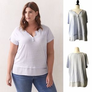 Short Sleeved Linen Top with Button Detail